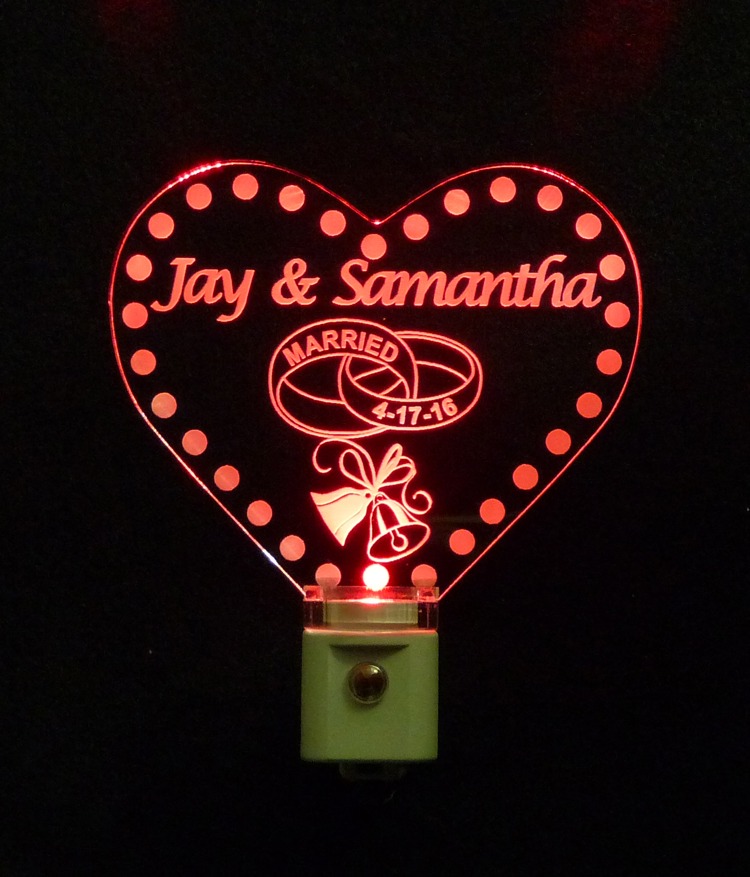 Personalized Heart LED Wedding Night Light