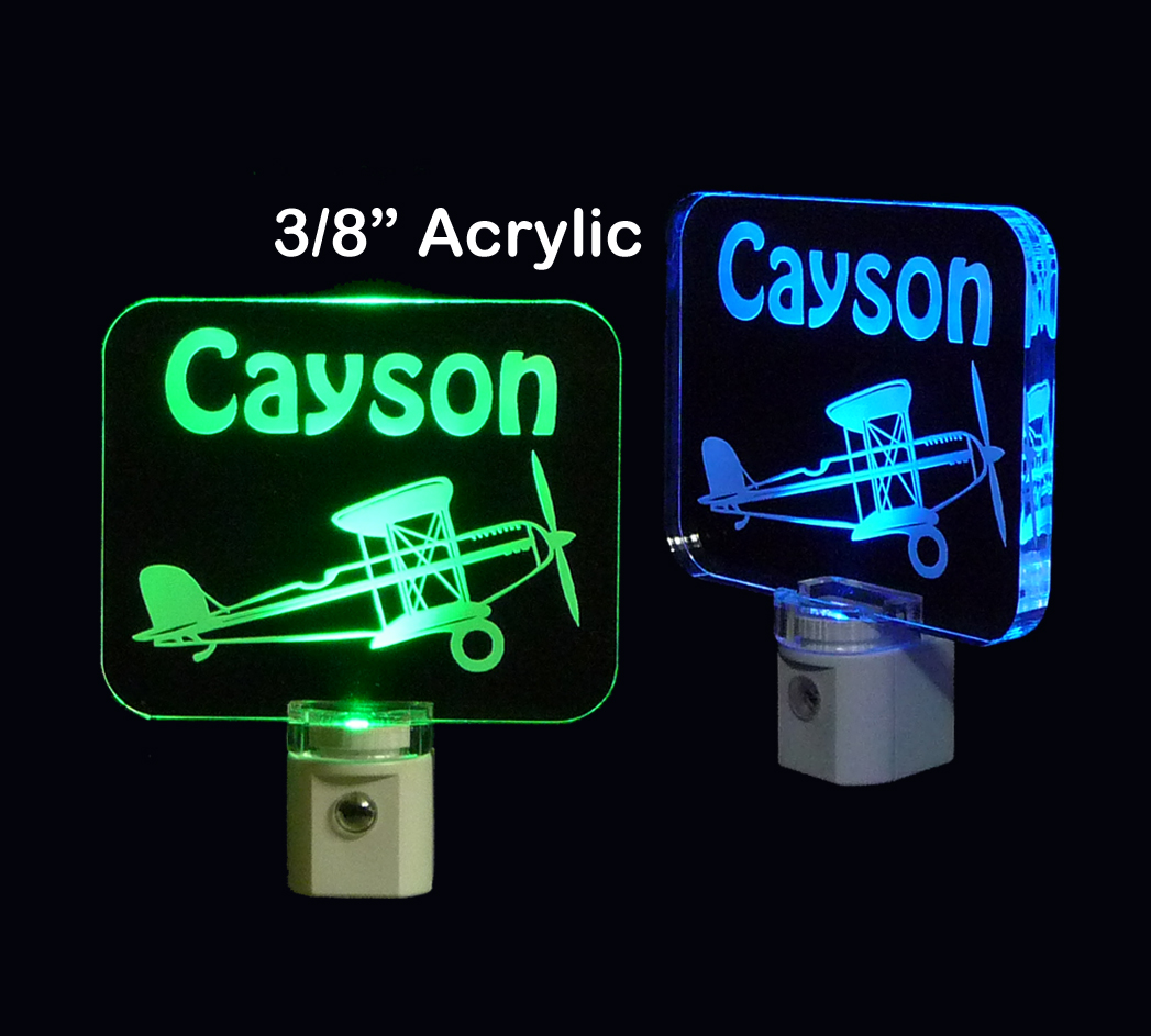Personalized Kids Propeller Airplane Night Light, LED