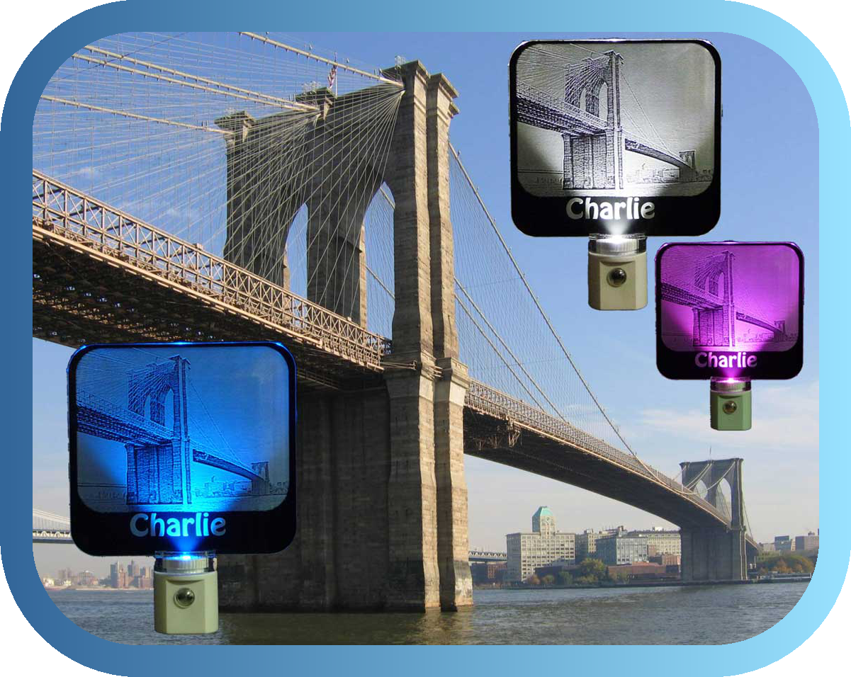 Brooklyn Bridge Photo Etched Personalized LED Night Light