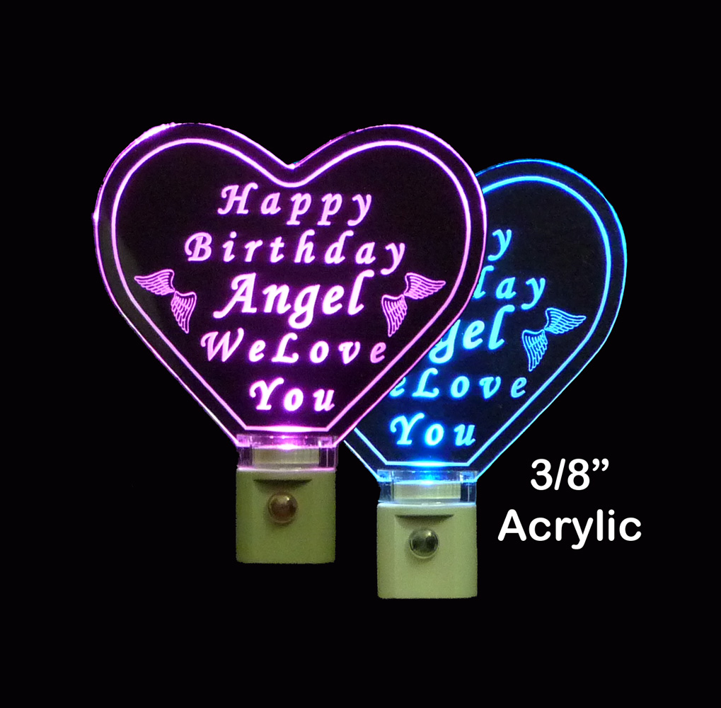 Heart Shaped Happy Birthday Personalized LED Night Light
