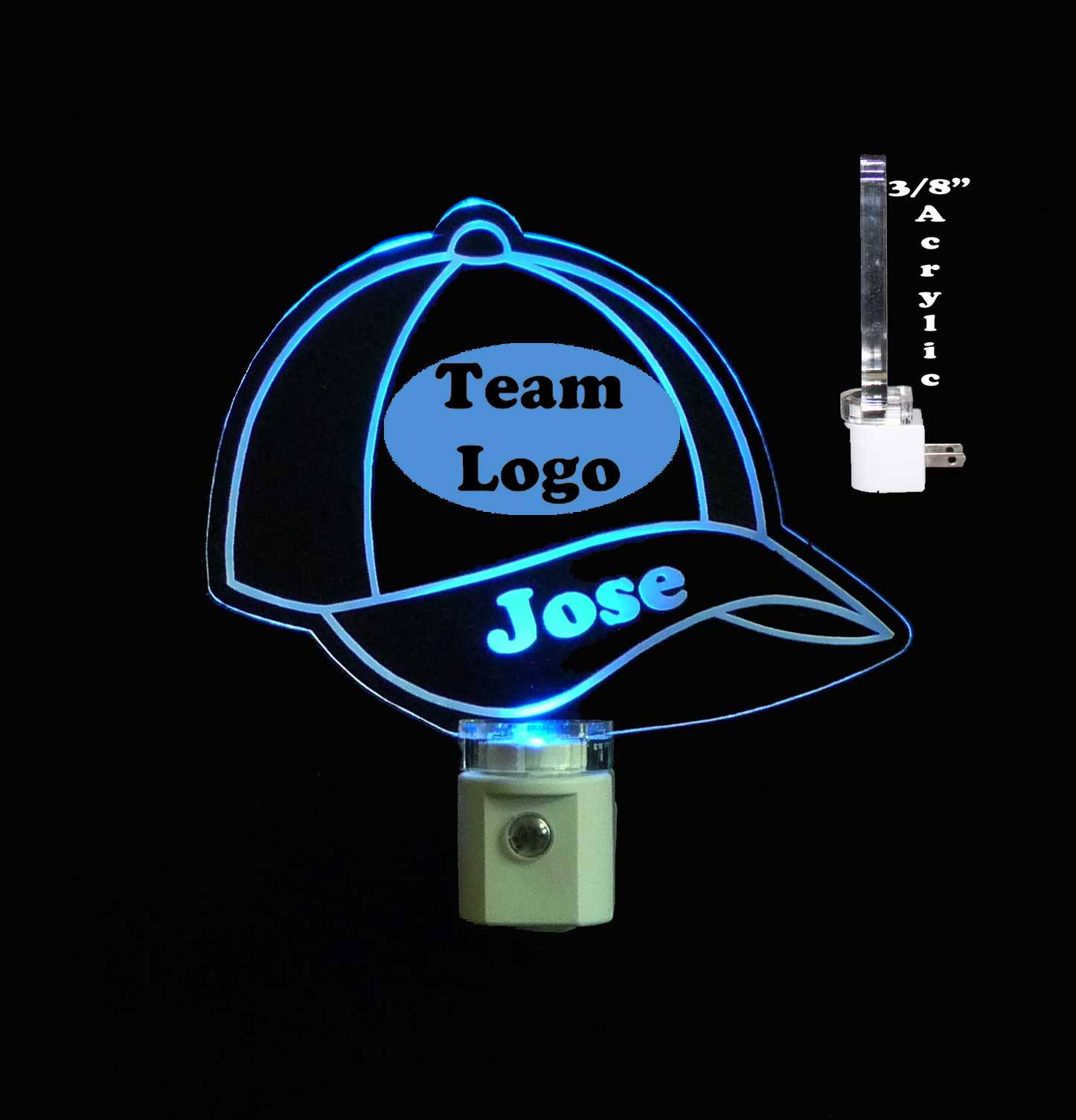 Personalized  Baseball Cap LED Night Light - With Team Logo