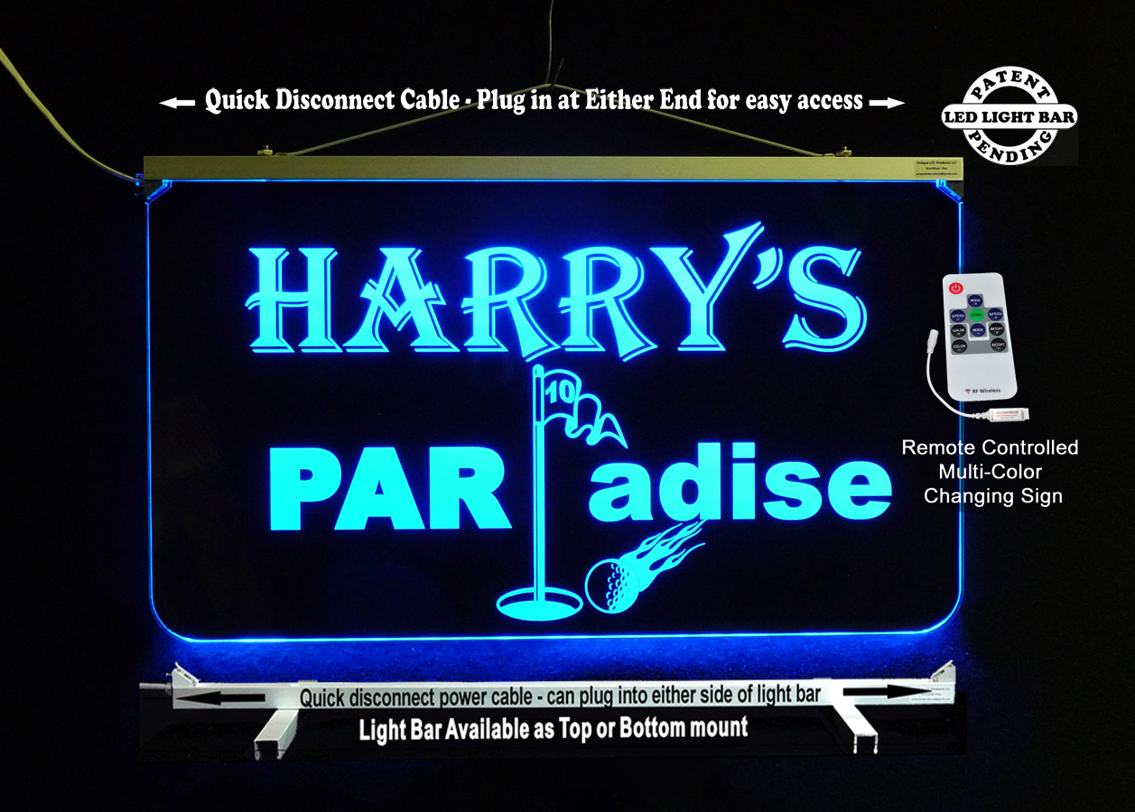 Personalized Golfer Sign - LED color changing