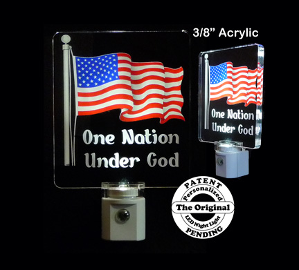 United States American Flag Night Light LED, One Nation Under God