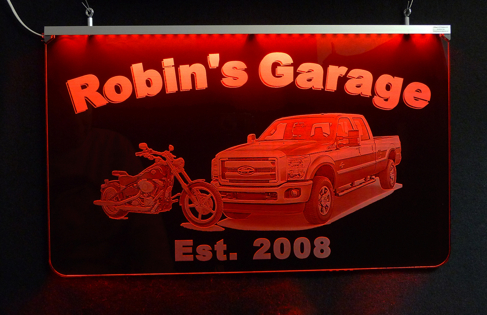 Personalized Photo Etched LED Man Cave Sign, Garage Sign