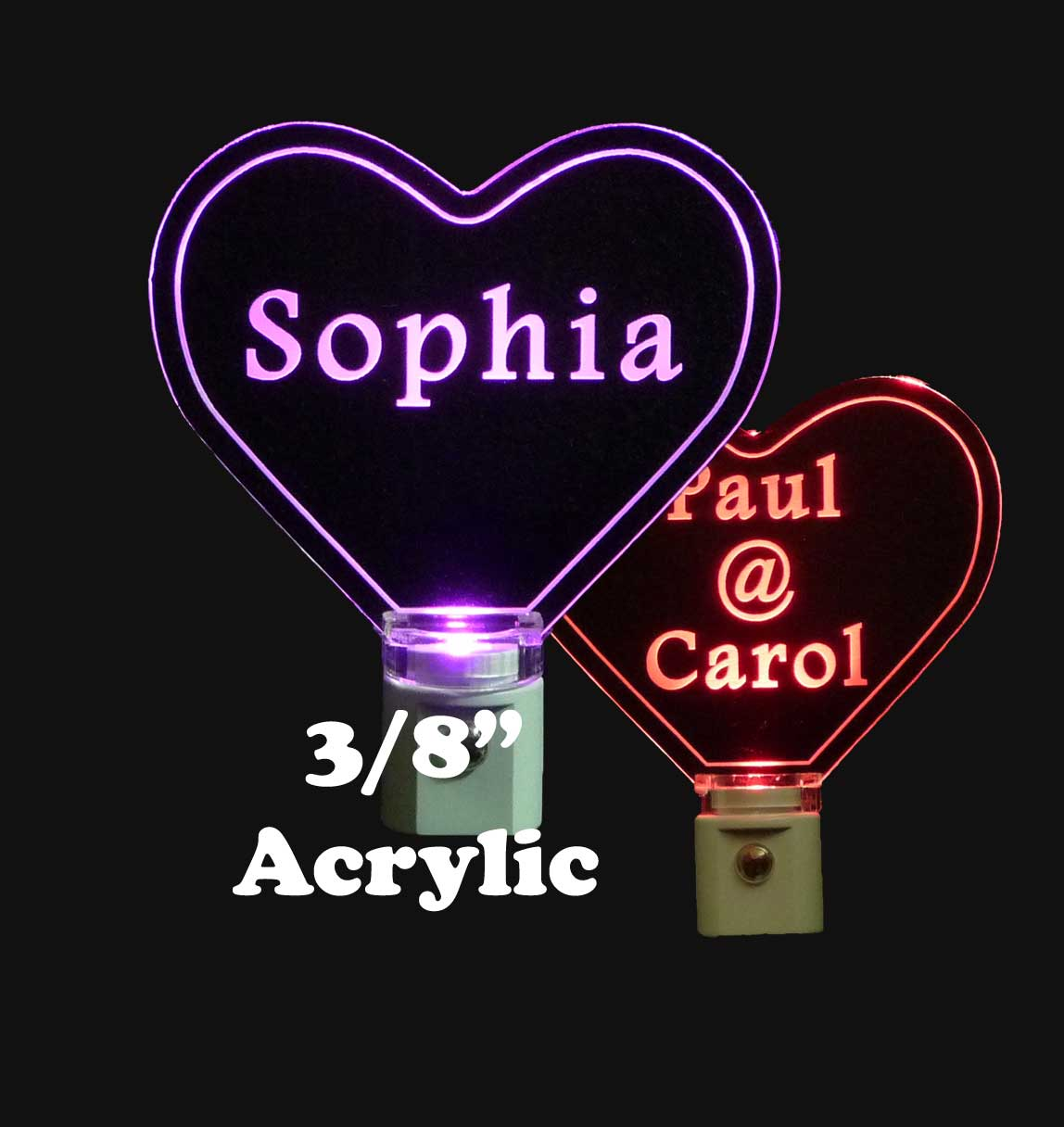 Personalized Heart Shaped  LED Night Light