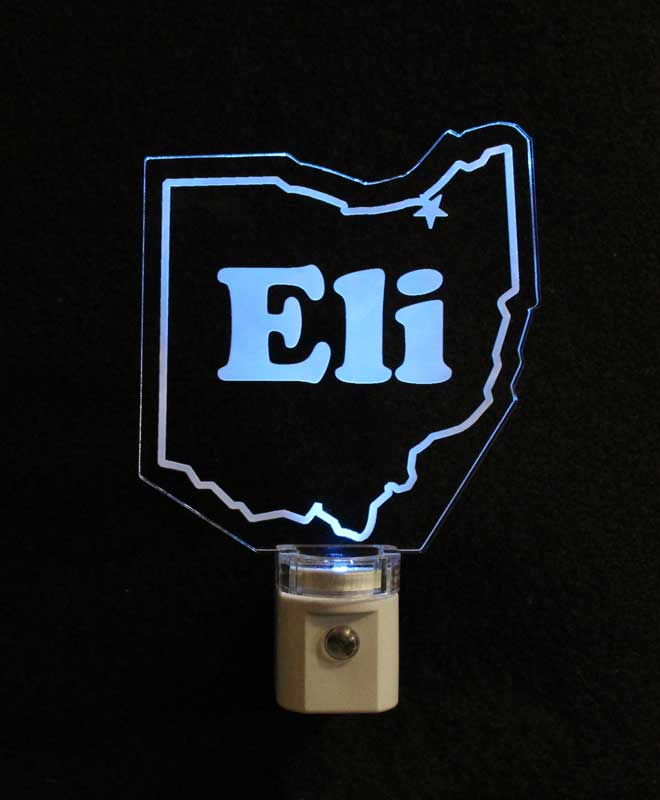 Ohio shaped LED Night Light Personalized with a name