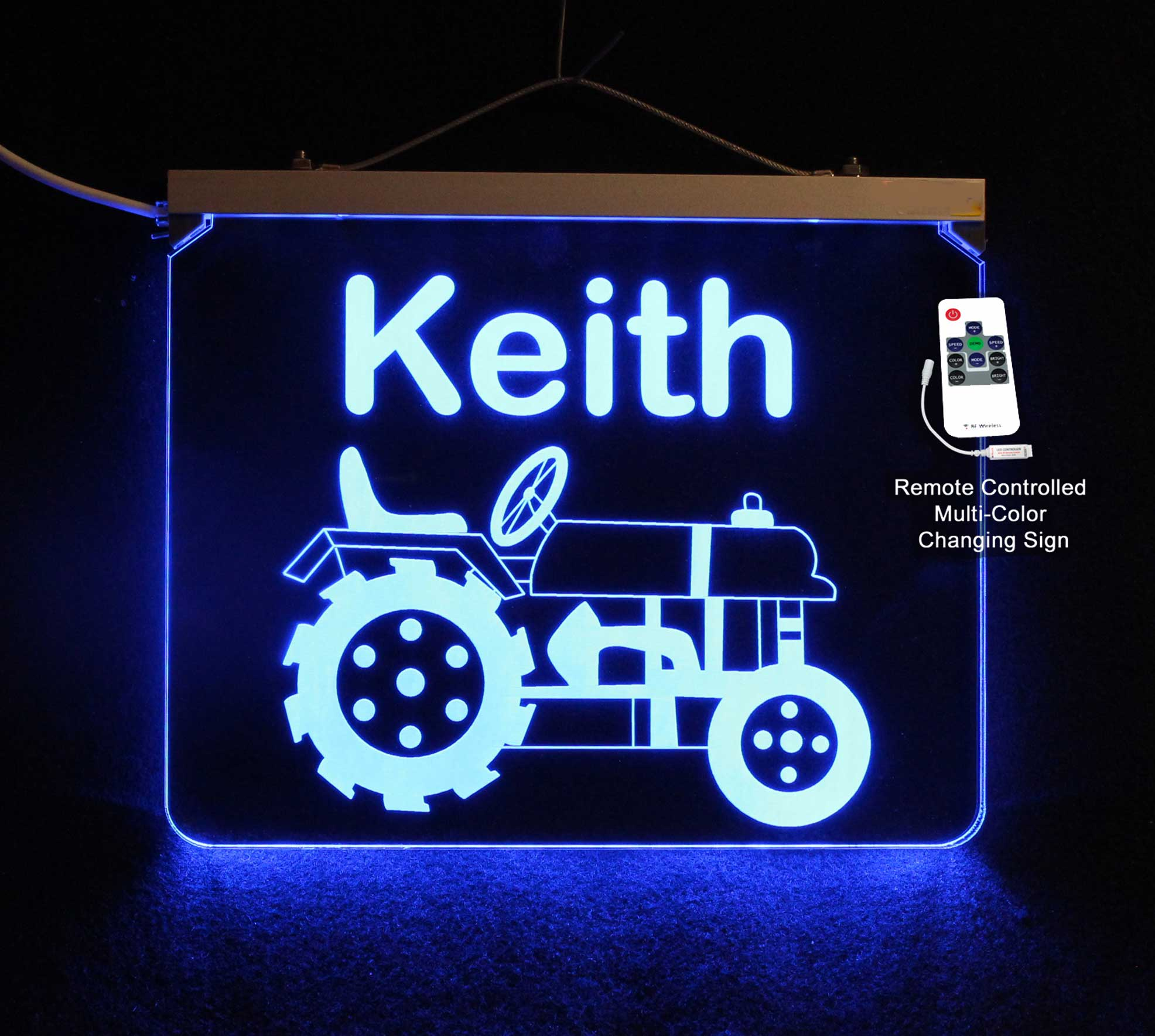 Tractor Sign, Personalized Color Changing Acrylic LED Sign