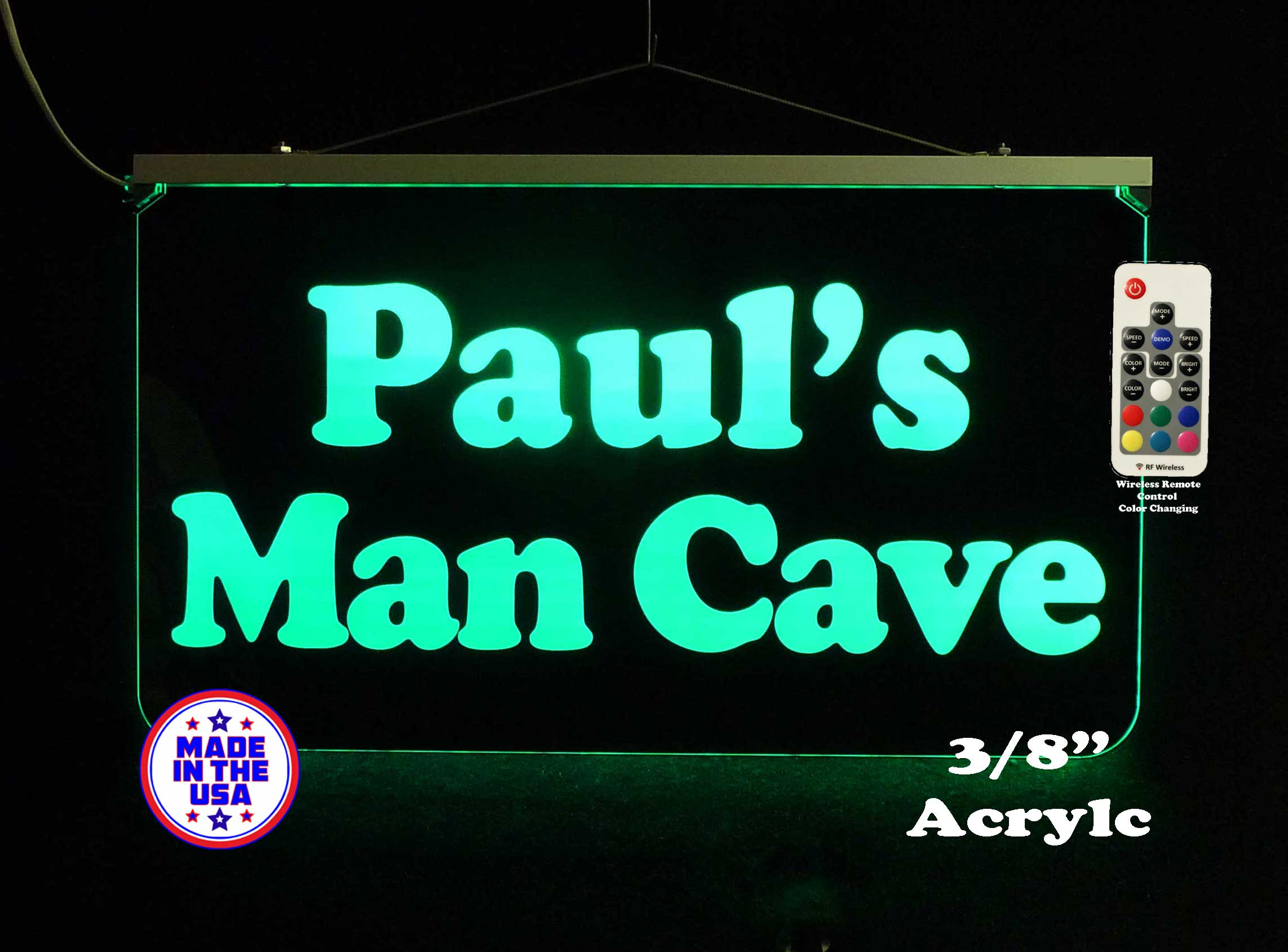 Personalized Man Cave LED Color Changing Sign