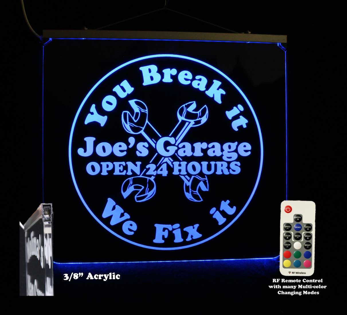 Garage sign, Personalized Man Cave Sign, Bar Sign- Multi Color Changing