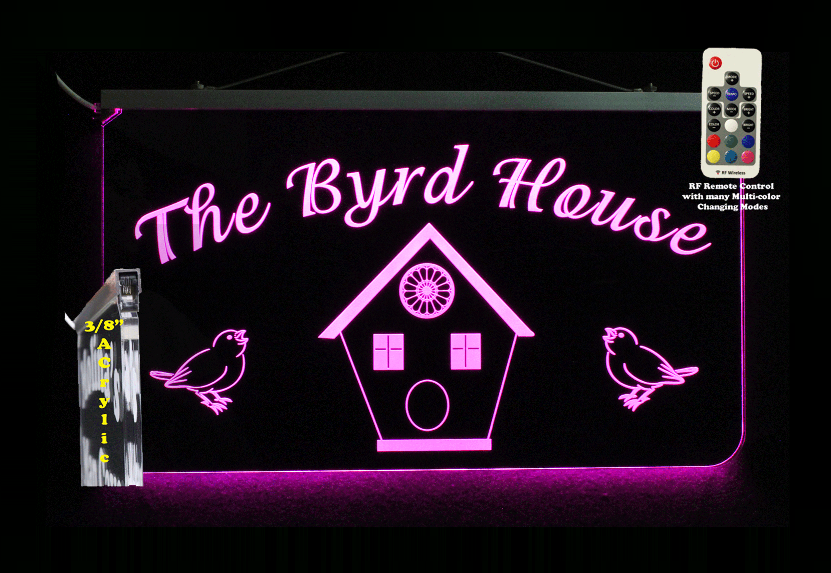 Personalized Bird House LED Sign, Man Cave, Garage, Multi-color changing