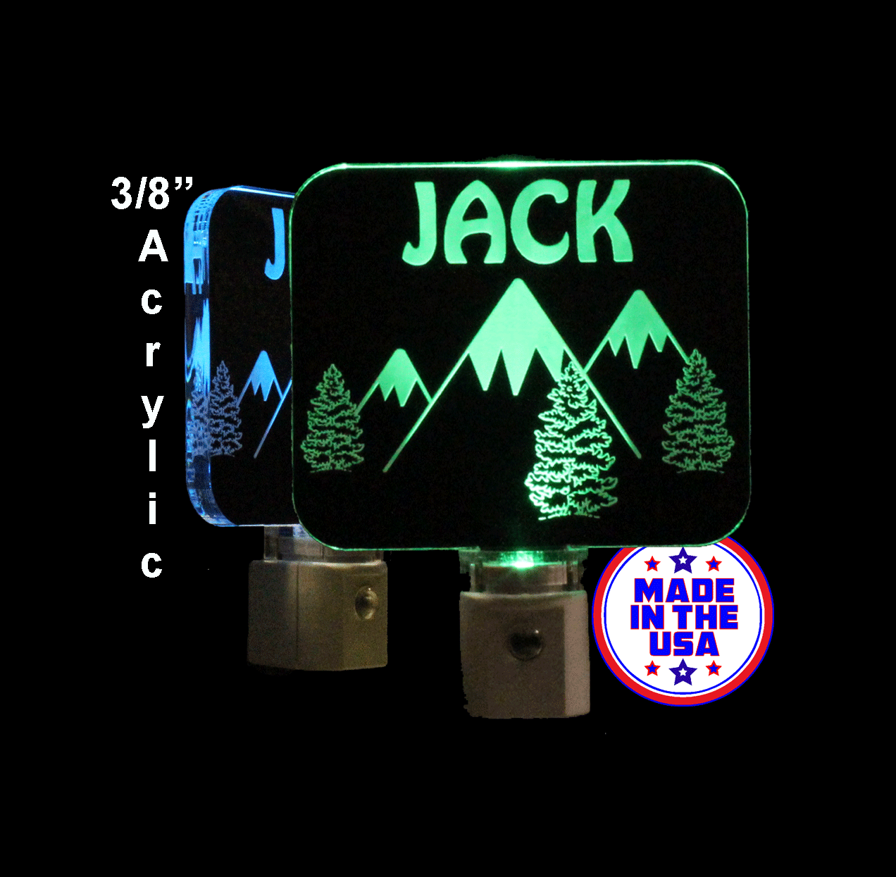 Mountain and Trees Night Light, Personalized LED