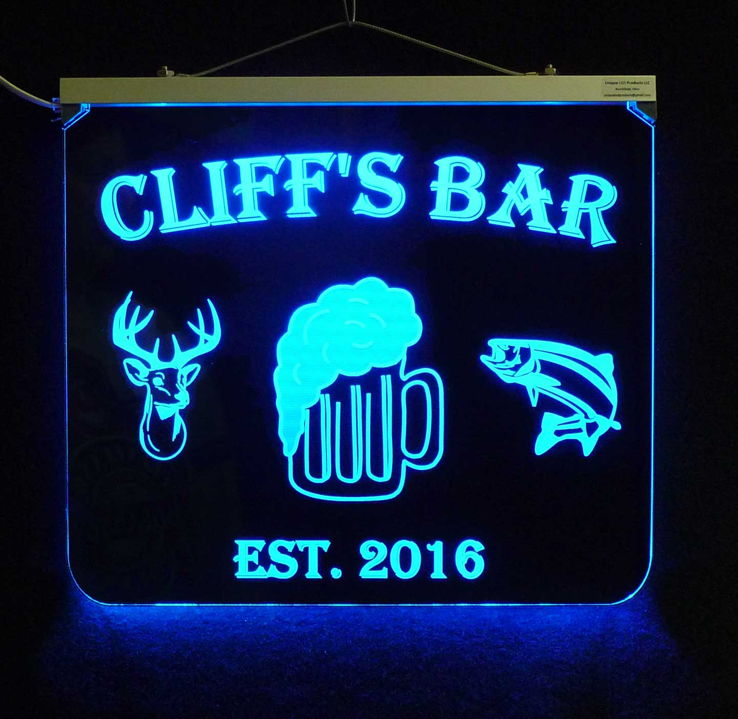 Personalized Beer, Deer and Fish lighted sign