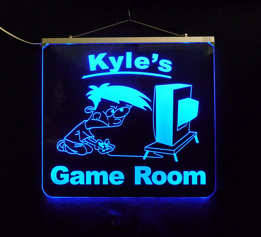 Personalized LED Game Room Man Cave Sign, Color Changing