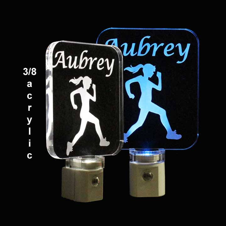 Woman Runner Night Light Personalized