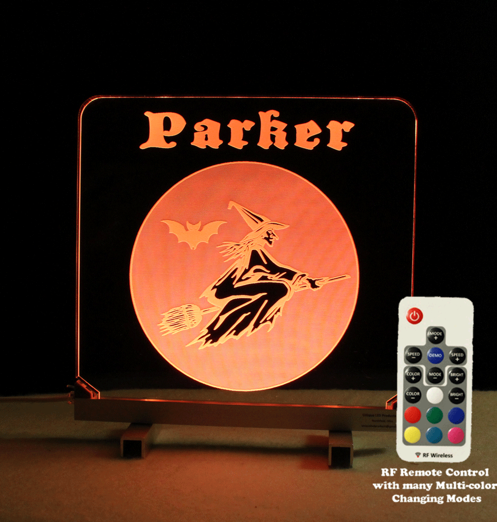 Halloween Sign, Witch Personalized LED