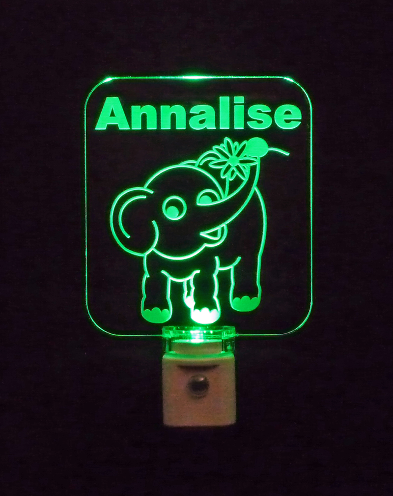 Personalized  Elephant with Flower LED Night Light