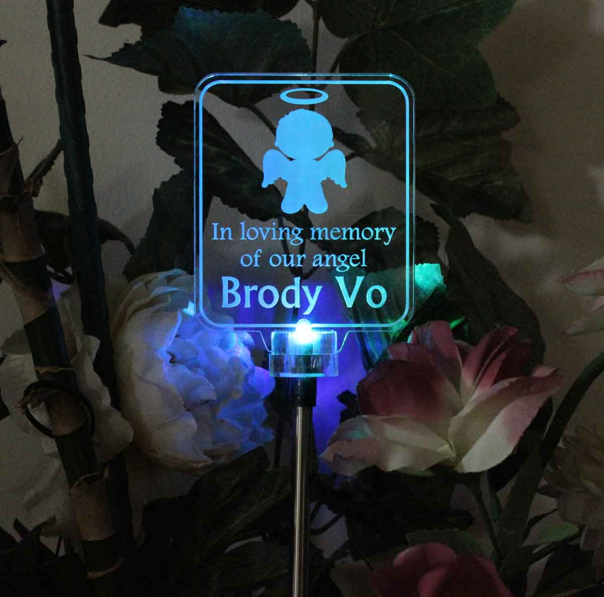 Personalized Boy Angel Solar Light, Grave marker, Garden light