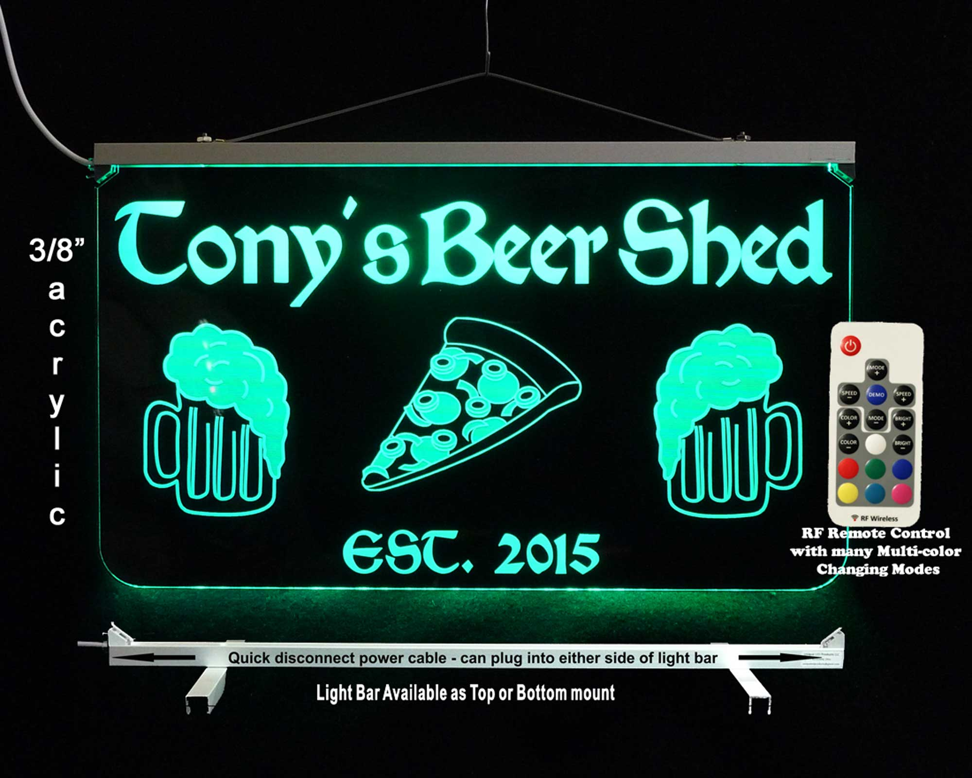 Personalized Bar Sign, LED Color Changing Sign with Beer mugs and pizza