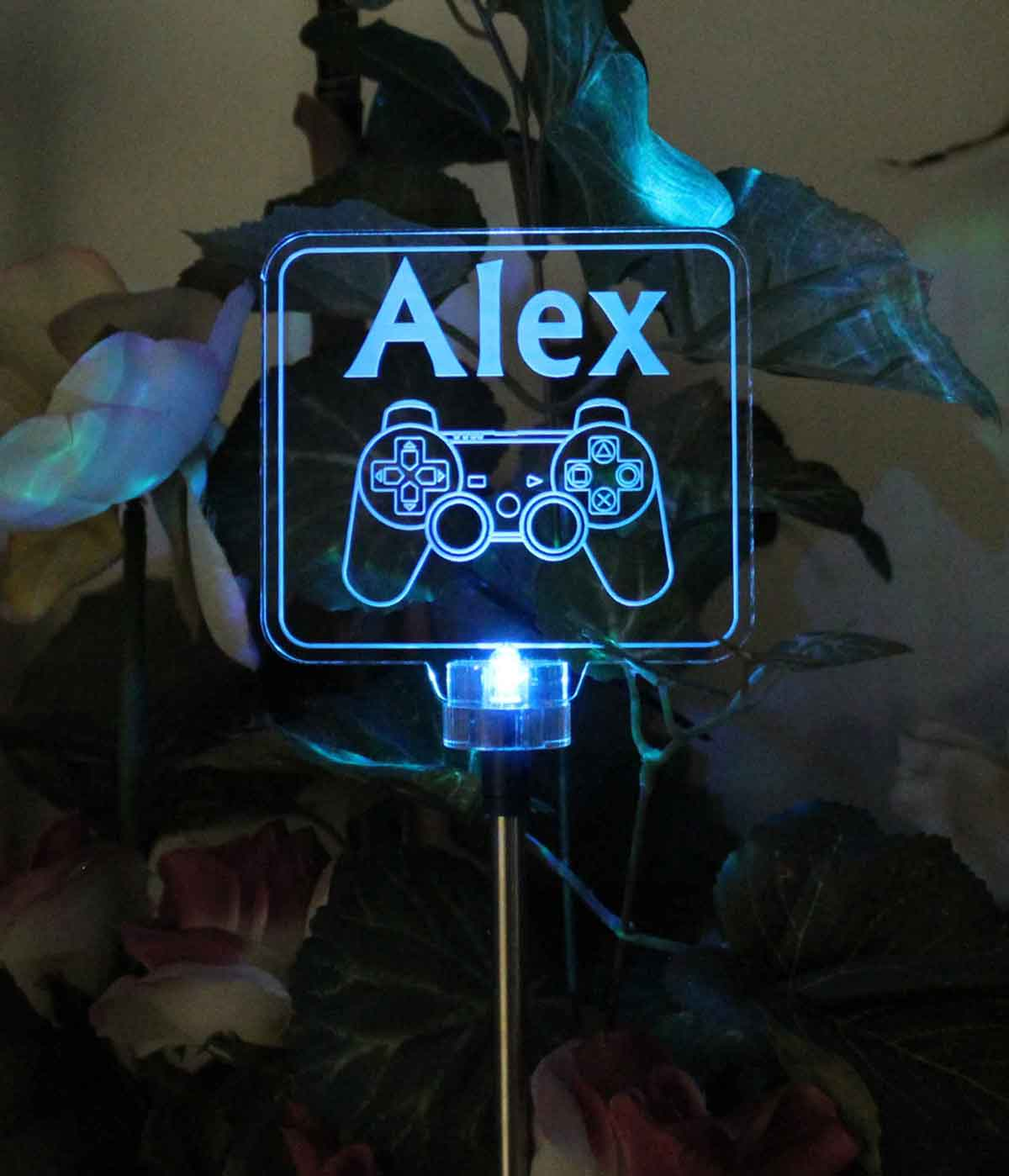 Personalized Video Controller Solar Light, Grave Marker, Garden Light