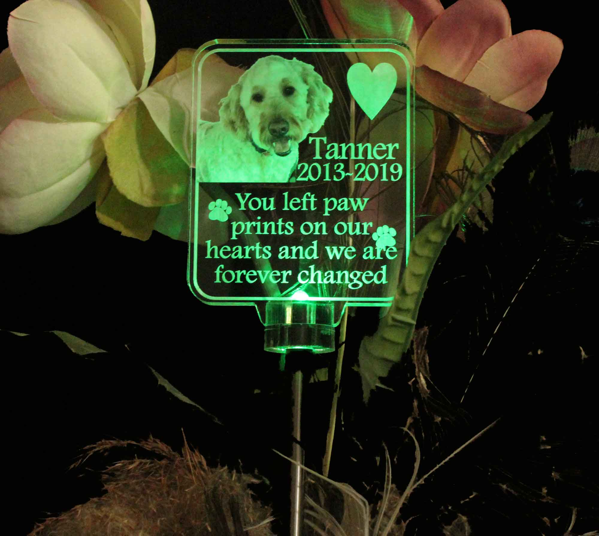 Animal Photo Solar light Personalized  Grave Marker, Garden Light
